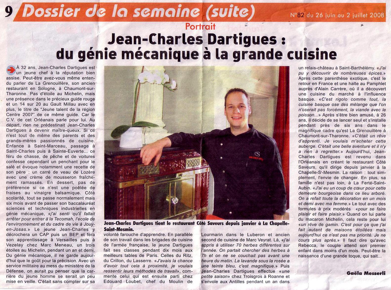 Jean-Charles Dartigues, du génie mécanique à la grande cuisine